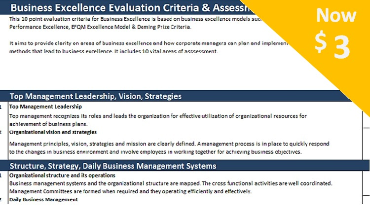 Business Excellence Assessment Sheet