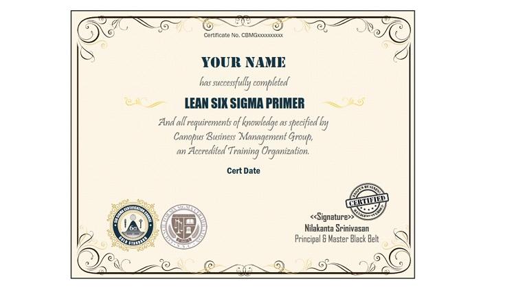 Six Sigma Primer Certificate Test